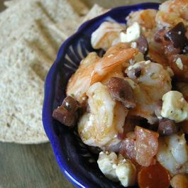 Grilled shrimp with olives and feta