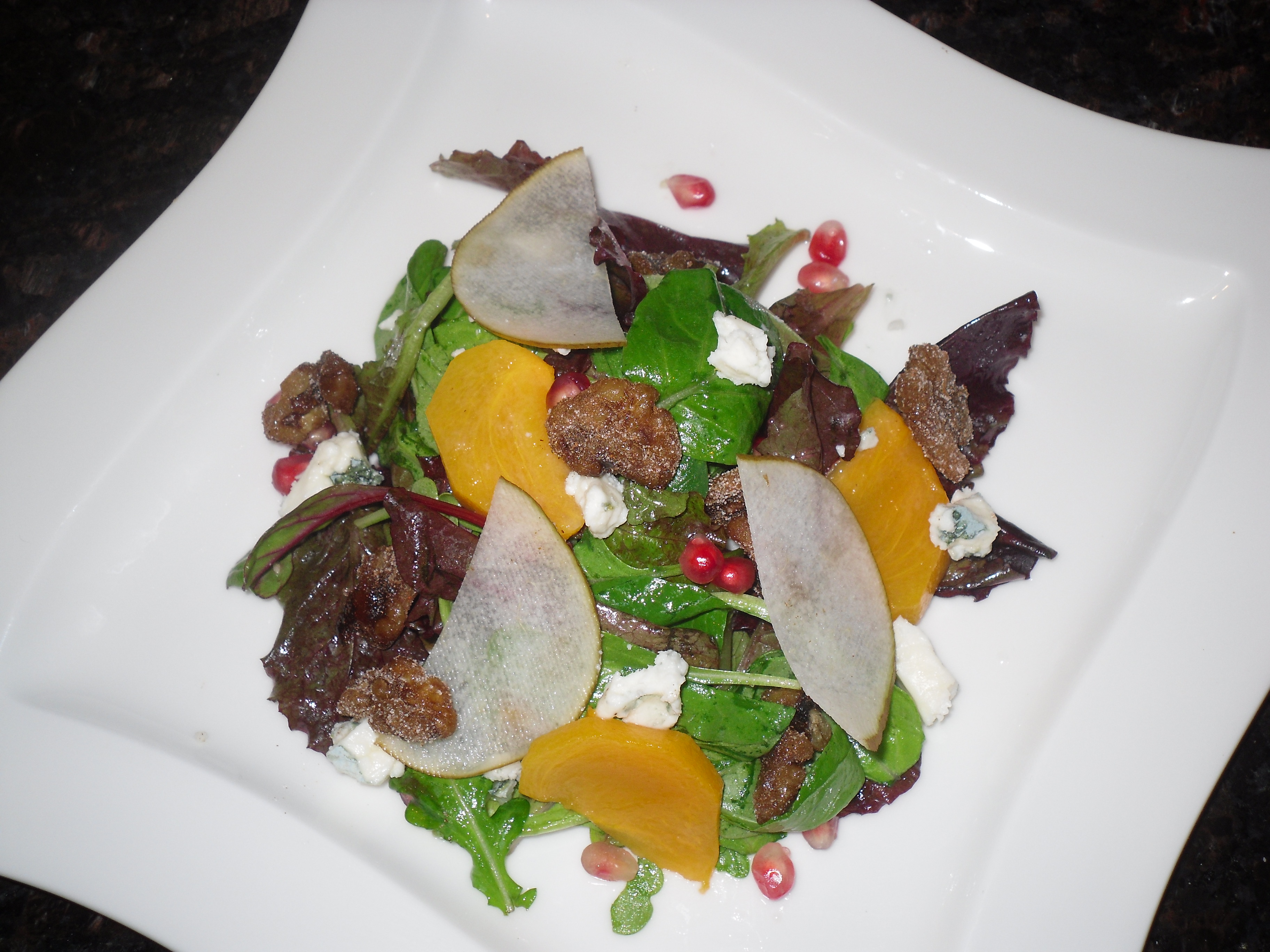 Persimmon, Asian Pear, Pomegranate Salad with Blue Cheese and Spiced ...