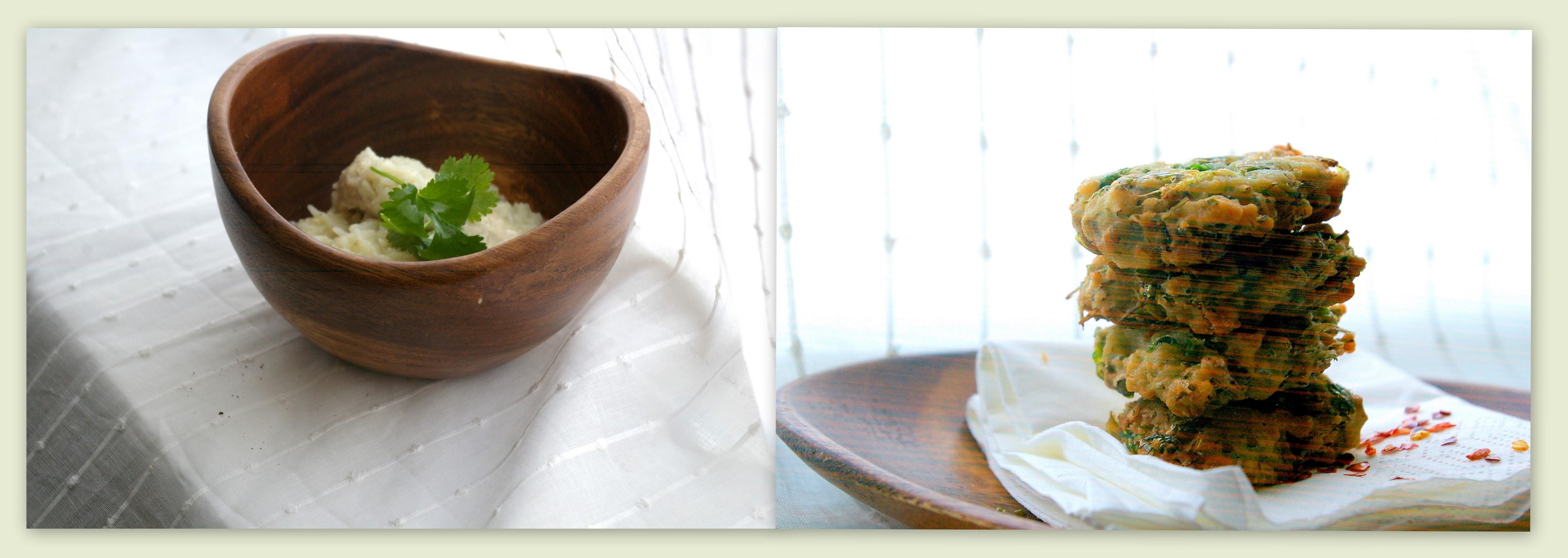 Chicken & Lemongrass Rice with Coriander Fritters