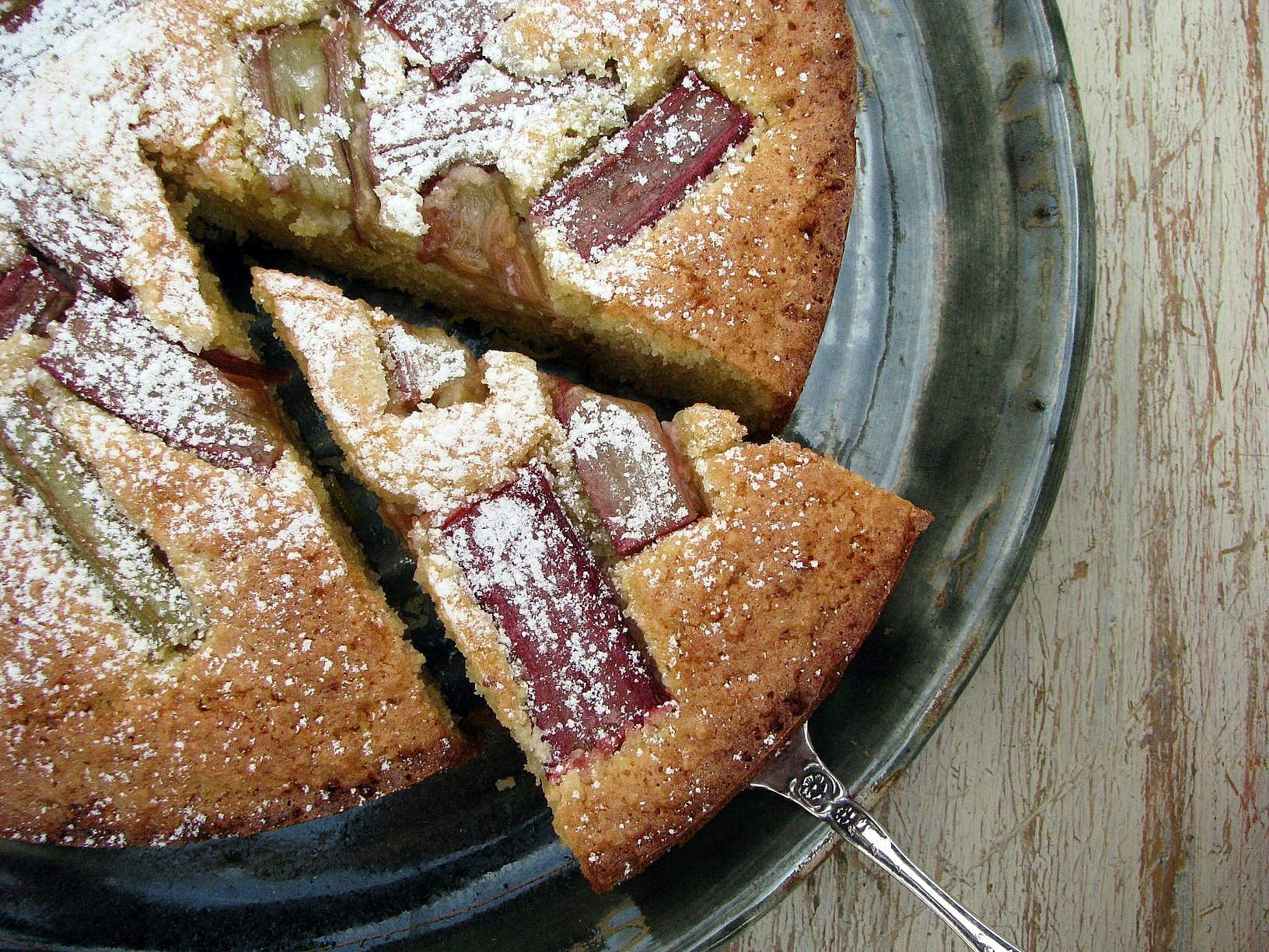 gluten-free rhubarb, lemon and almond cake