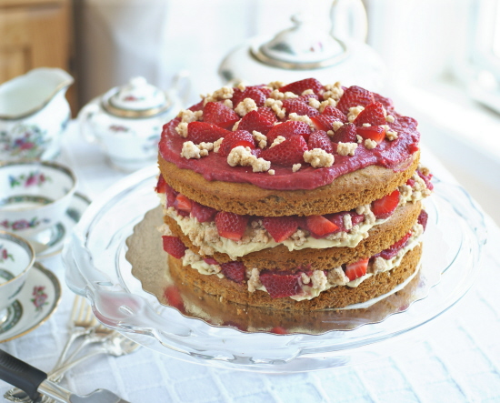 "Strawberry Layer Cake with Pastry Cream Filling and ""White Chocolate"" Covered Cookie Crumbs"