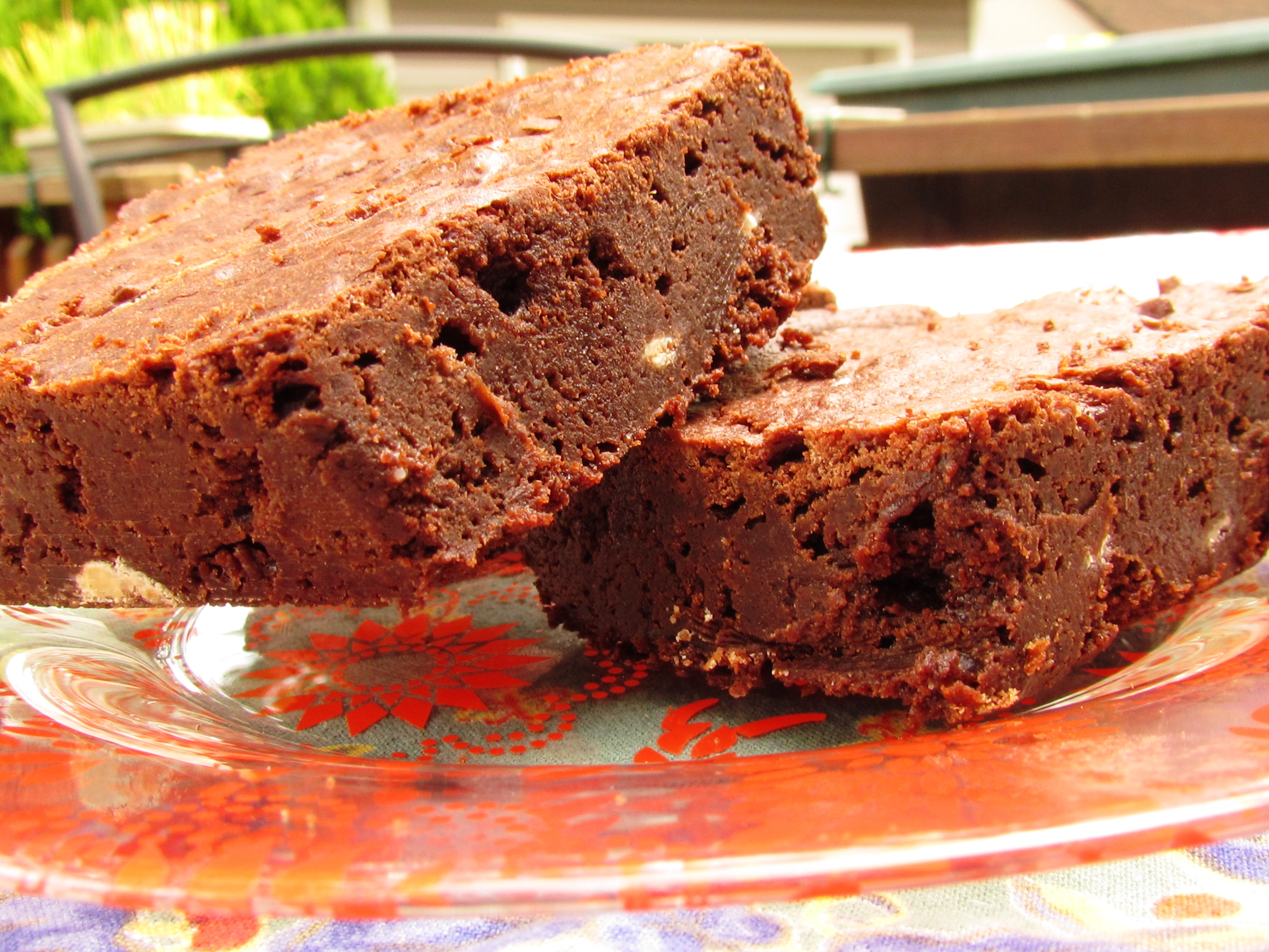 Fudgy Bourbon Brownies with White Chocolate Chunks