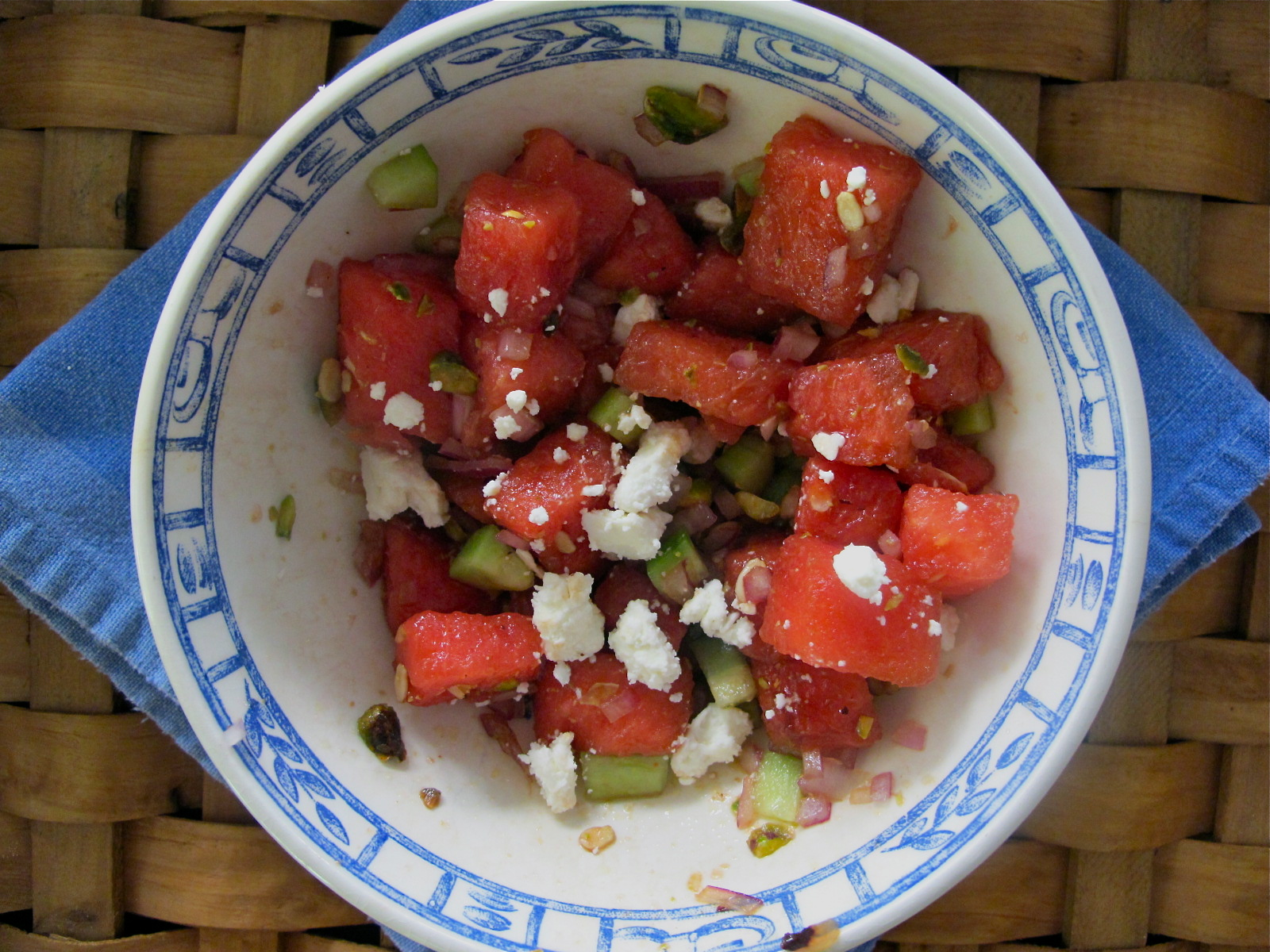 WATERMELON SALAD WITH FETA, CUCUMBER, ONION AND PISTACHIOS