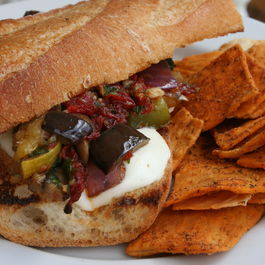 Mediterranean Vegetable Sandwich with Sundried Tomato Pesto and Fresh Mozzarella