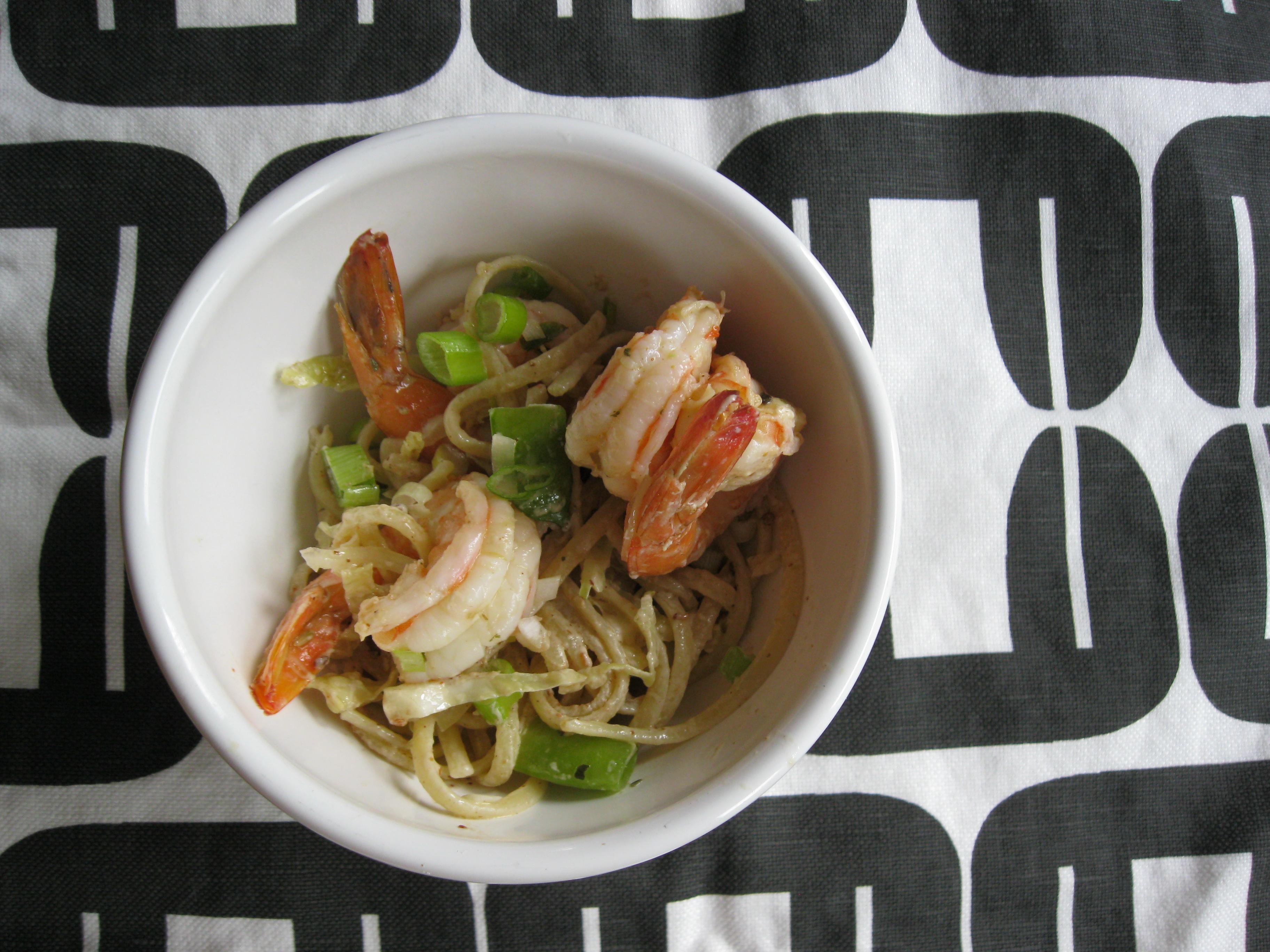 Sesame Noodles with Spicy Pickled Shrimp