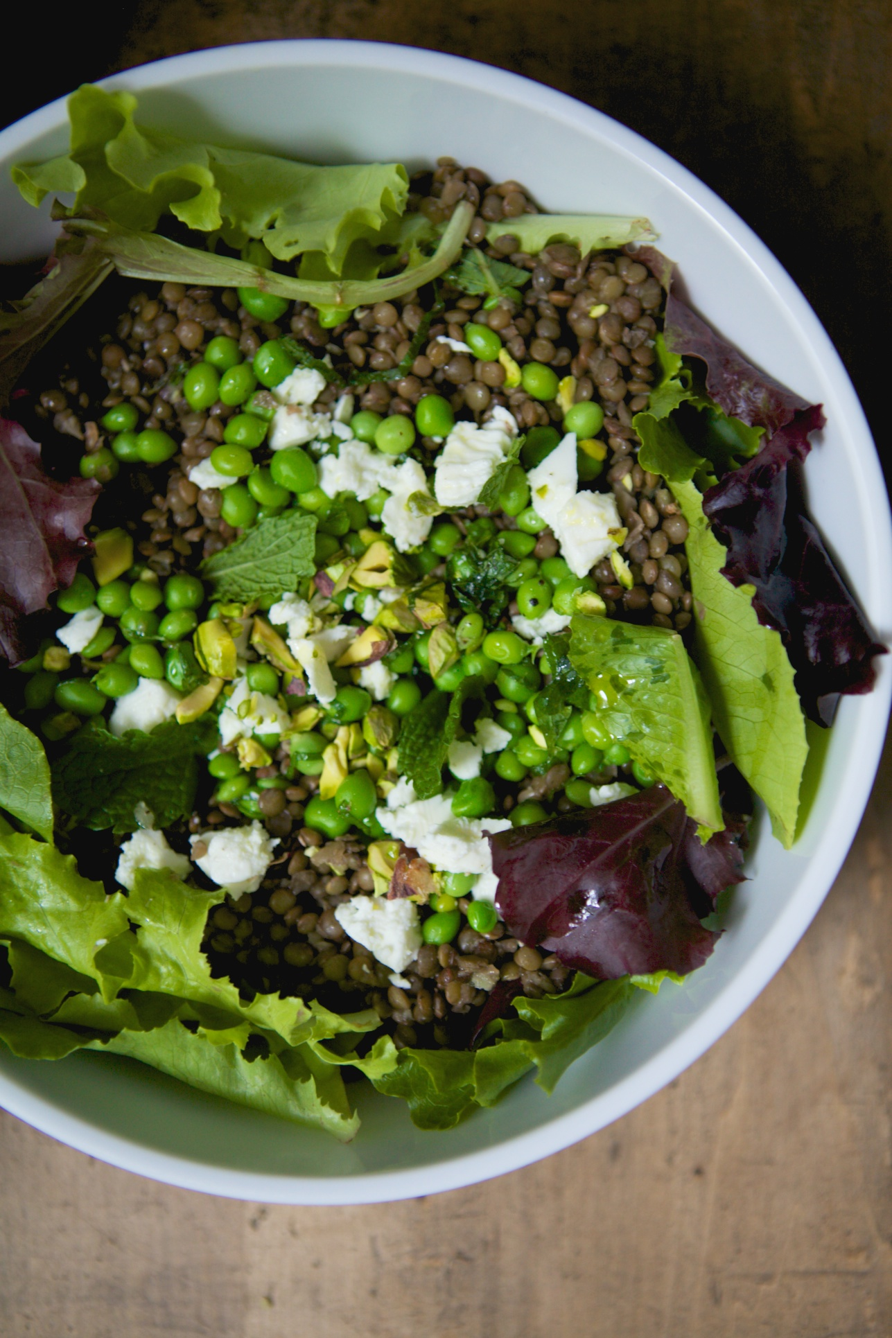 Lentil Salad with Fresh Peas, Pistachios, Mint & Sheep's Milk Feta