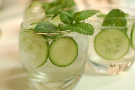 Cucumber, Mint, and Basil Soda