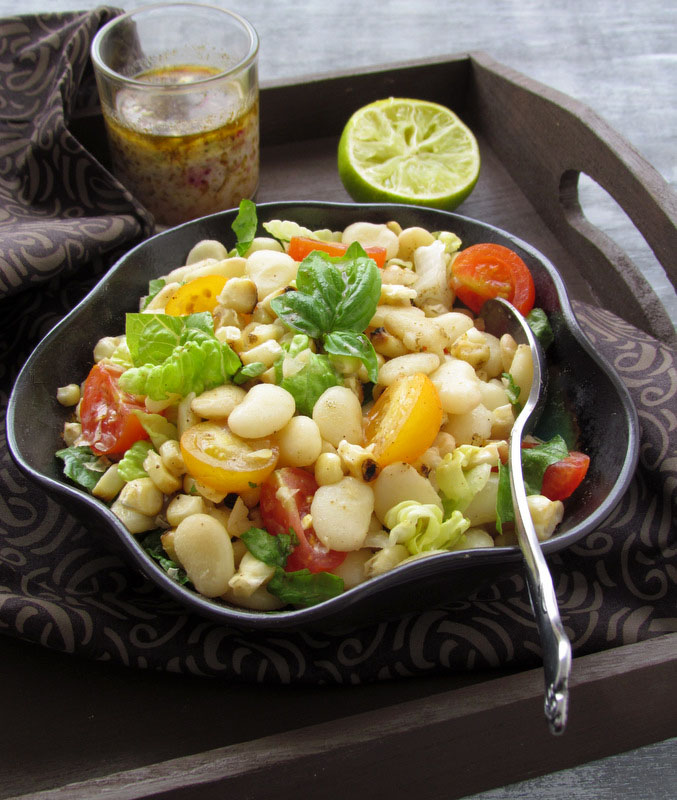 White Lima Bean & Summer Vegetables Salad With Garam Masala Dressing