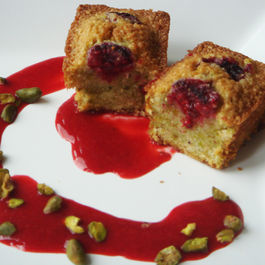 Pistachio and Rose Water Financiers with Raspberries