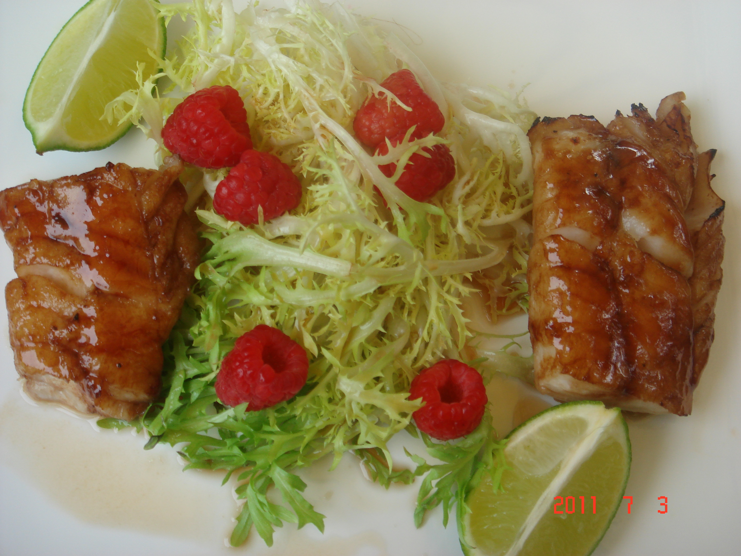 Raspberry Miso Glazed Cod