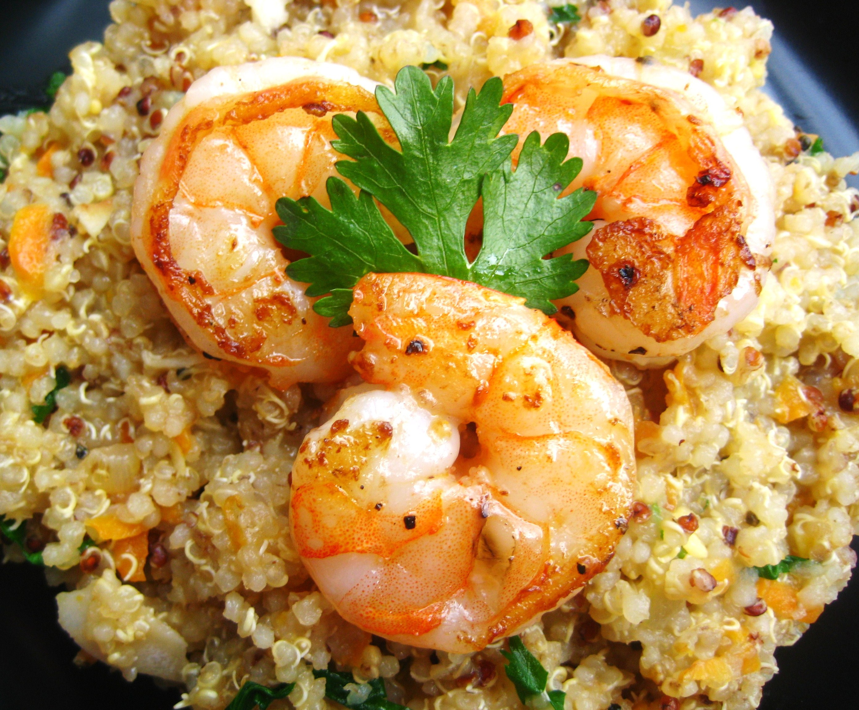 Coconut-Ginger Quinoa with Carrots and Shrimp