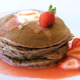 Strawberry Coulis-Infused Pancakes