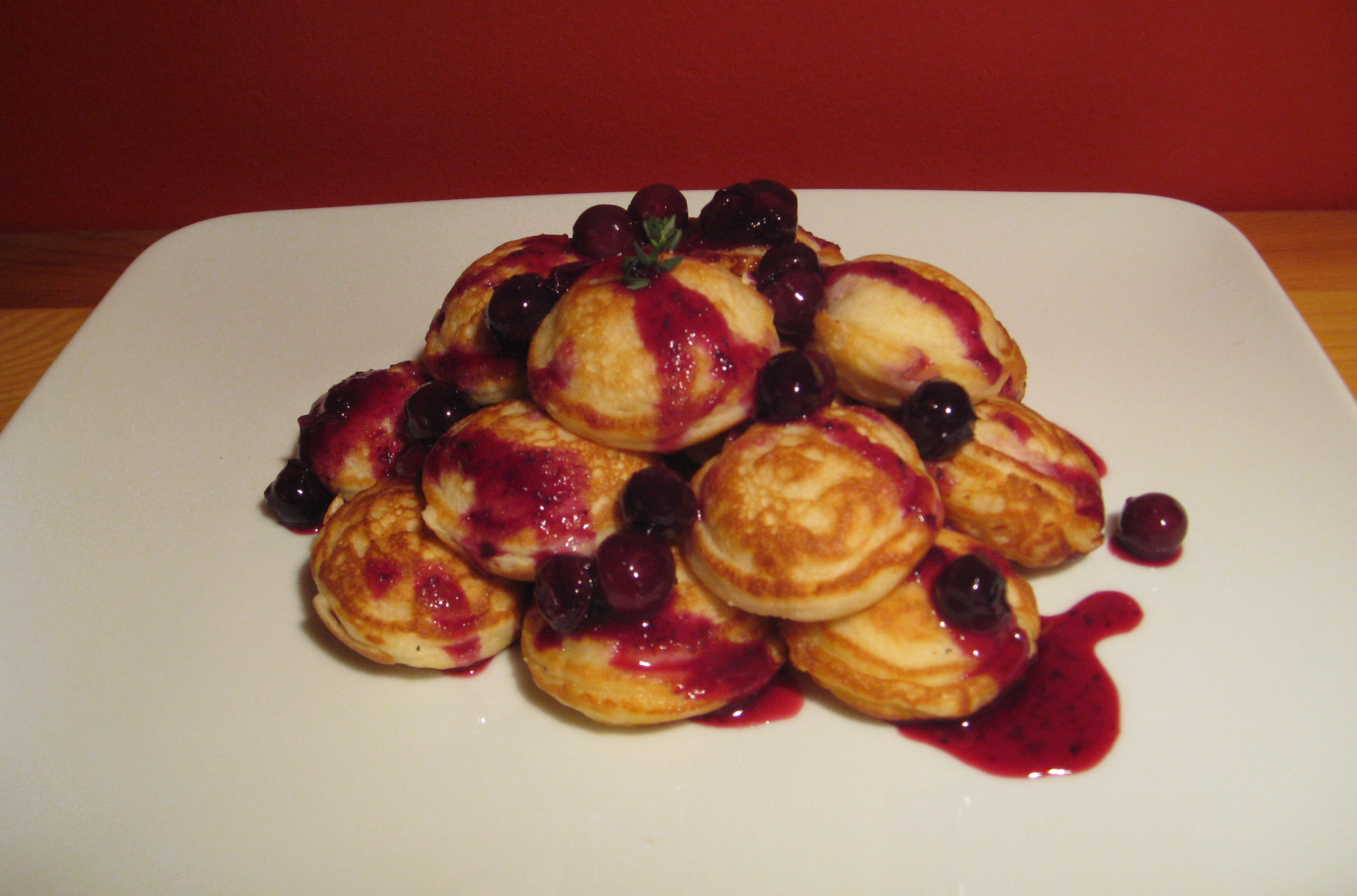 Lemon Mascarpone Stuffed Ebelskivers (Danish Pancakes) with Blueberry Thyme Compote