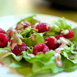 Raspberry Miso Dressing on a Summer Salad