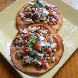 Chicken and Black -Eyed Pea Salad on Crispy Flour Tortillas