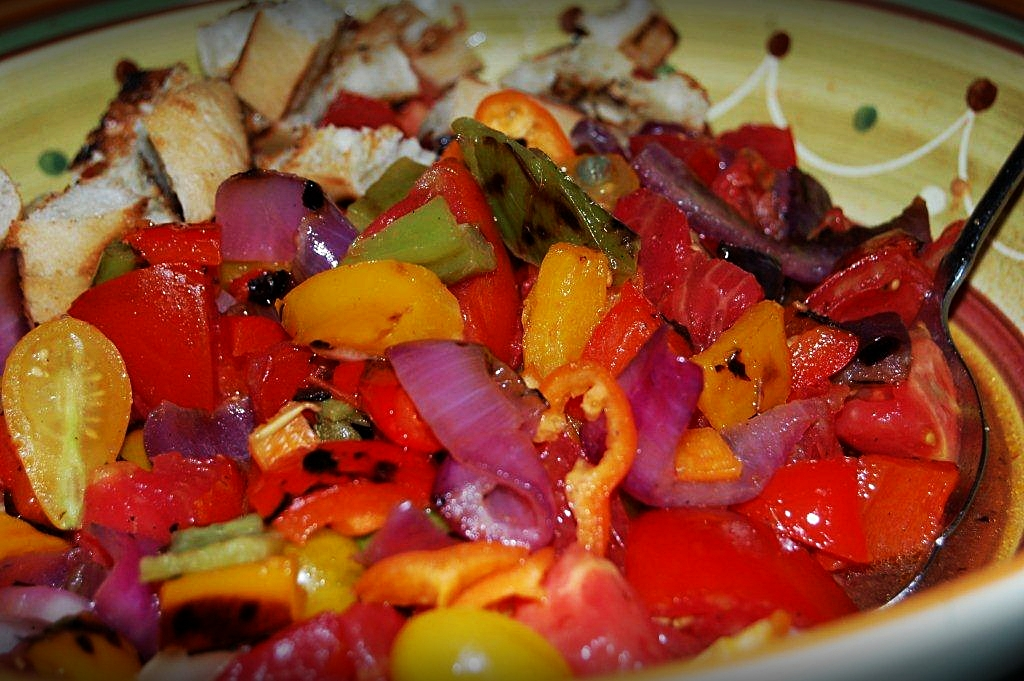 Grilled Peppers, Red Onions, Tomato and Ciabatta Panzanella