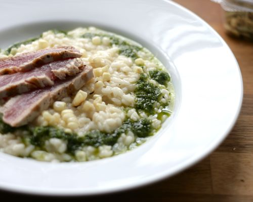 Charred Corn Risotto with Seared Tuna and Jalapeno-Basil Oil