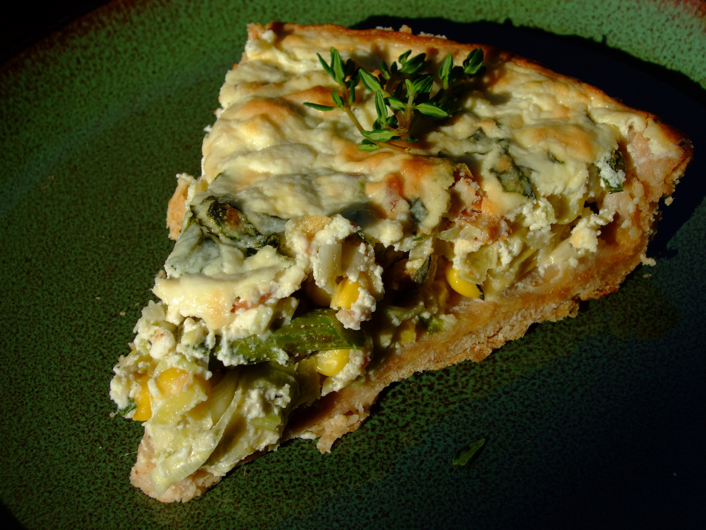 Corn Asparagus Leek Ricotta Tart with Herbed Olive Oil Crust Recipe on ...