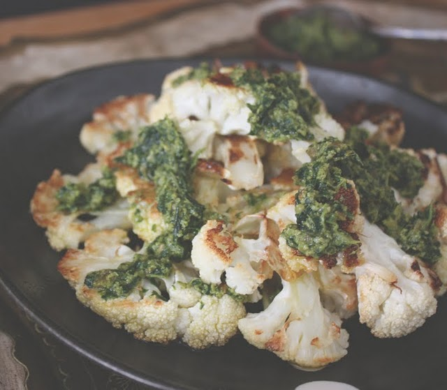 roasted cauliflower with mint sambal