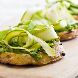 Grilled Potato Rounds with Pesto and Shaved Asparagus