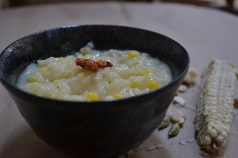 Sweet Corn & rice pudding