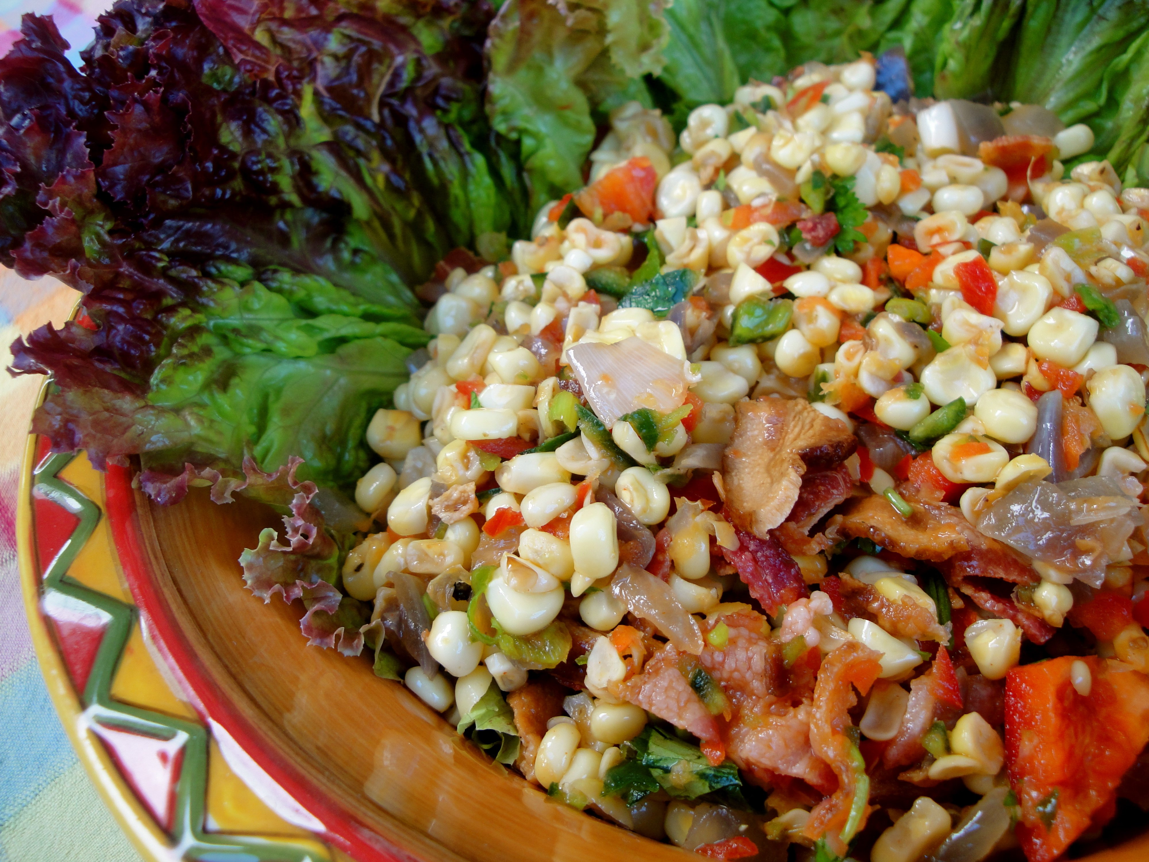 Roasted Corn, Poblano, and Bacon Salad with Maple-Lime Vinaigrette