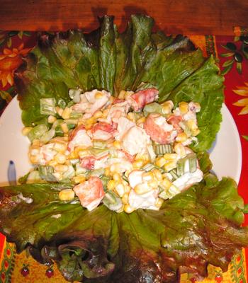 Midsummer Salad -Corn, Lobster with Cooling Lime Yogurt Dressing