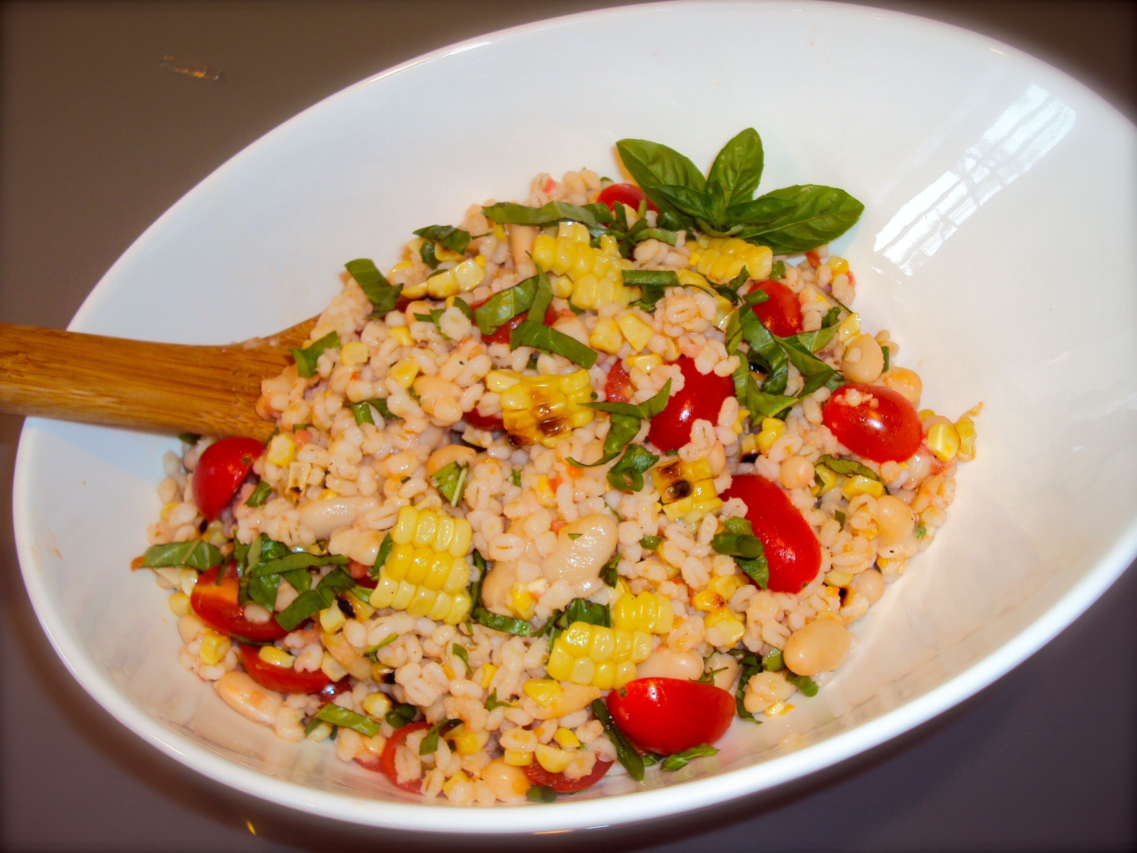 Grilled Corn & Barley Salad with Tomato Vinaigrette