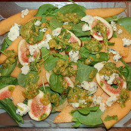 Melon and Watercress Salad with Honey-Marcona Almond Dressing