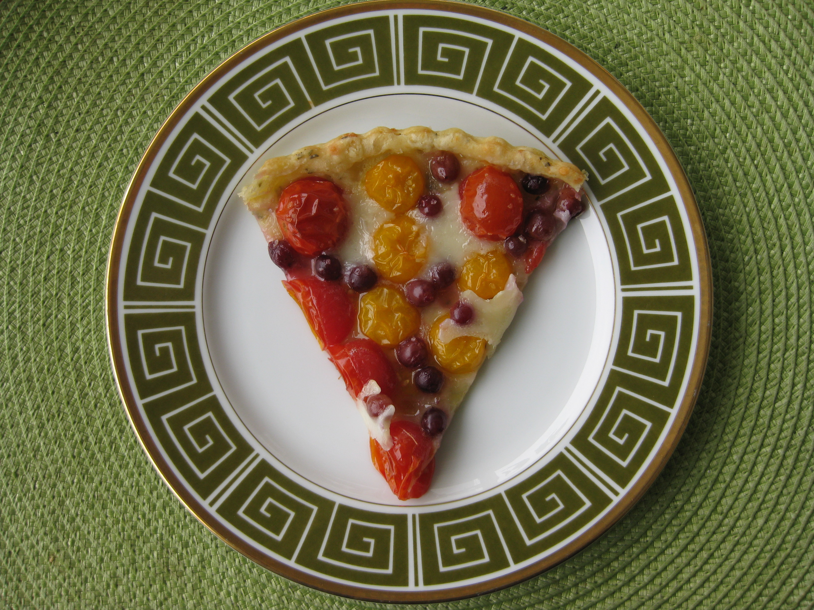 Cherry Tomato and Champagne Grape Tart