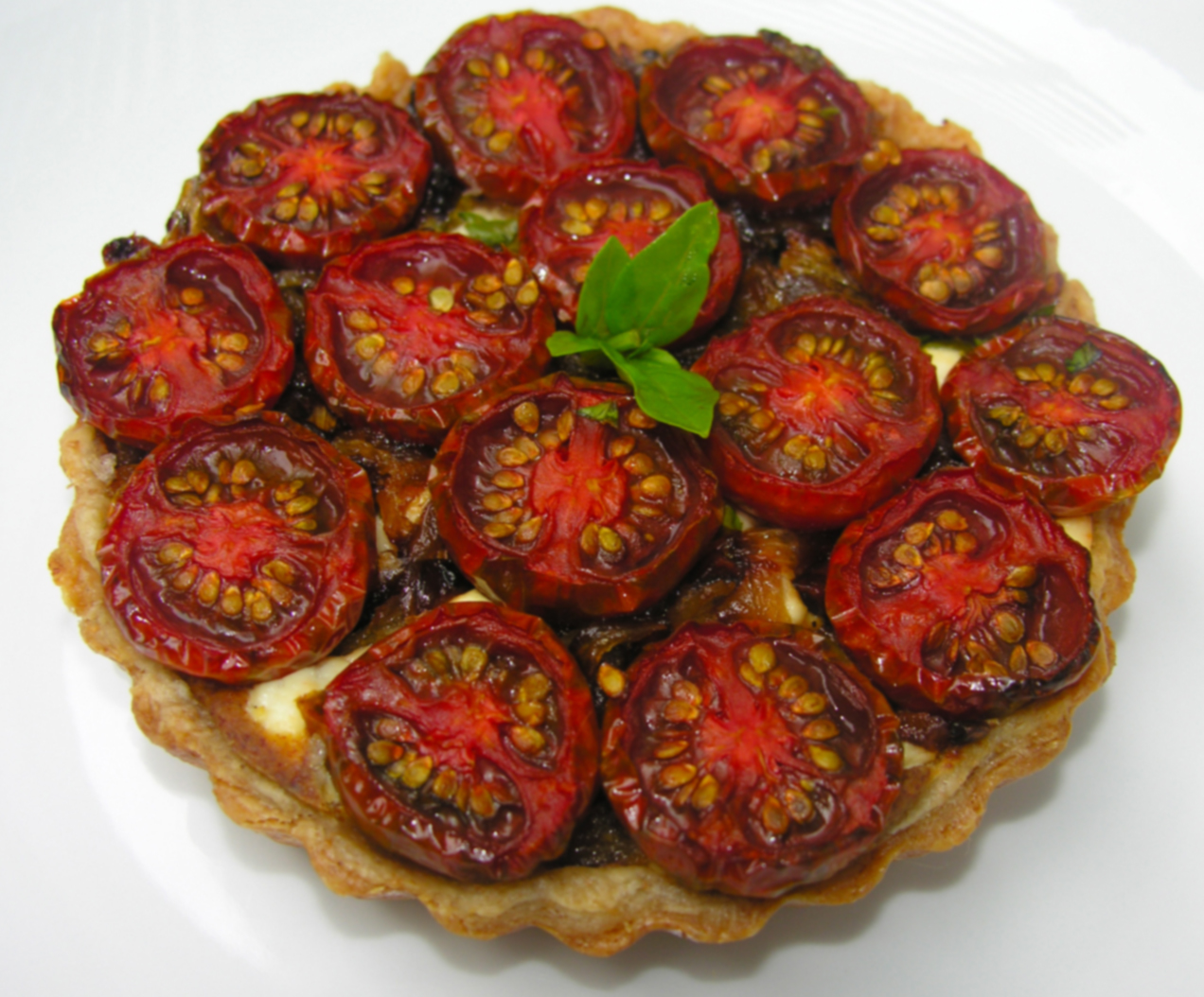 Black cherry tomato tart