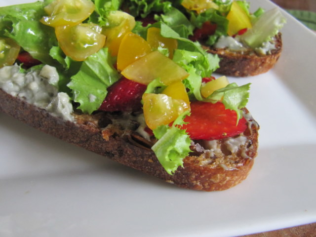 Savoring Summer Tartine, with Cherry Tomato and Strawberry