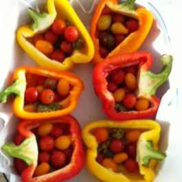 A roasted cherry tomato party in a bowl.