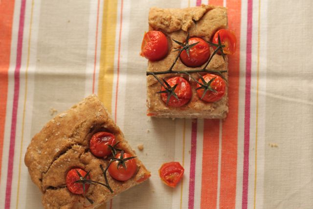 Farro flour Schiacciata with Cherry Tomatoes