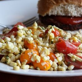 Tomato and Raw Corn Salad with Basil-Lime Dressing