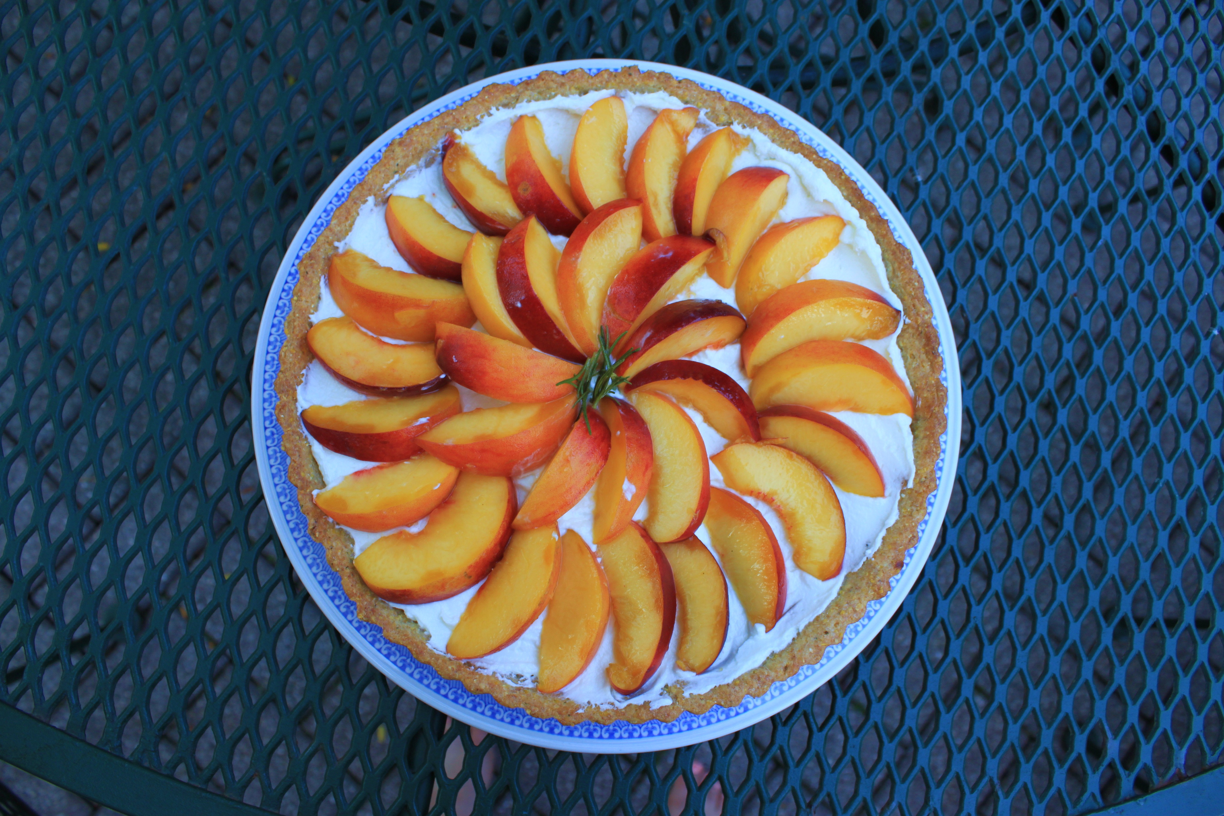 Peach and Goat Cheese Tart with Rosemary Cornmeal Crust