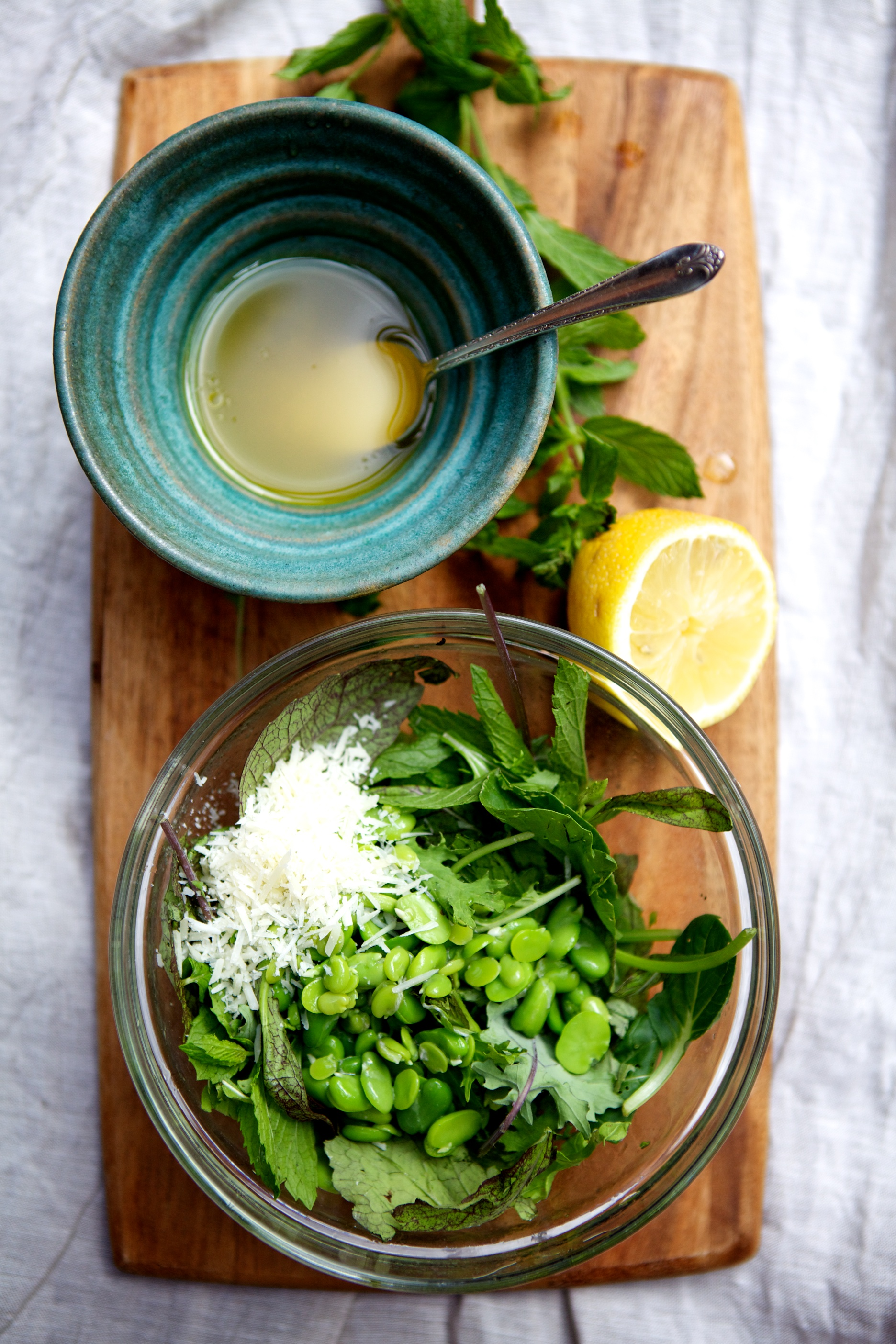 Fava Bean Salad with Mint, Mustard Greens & Parmesan