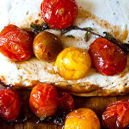 Baked ricotta and goat cheese with candied tomatoes  by Marilyn Ringwood