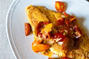 Cherry Tomato Tequila Butter Salsa with Fried Fish