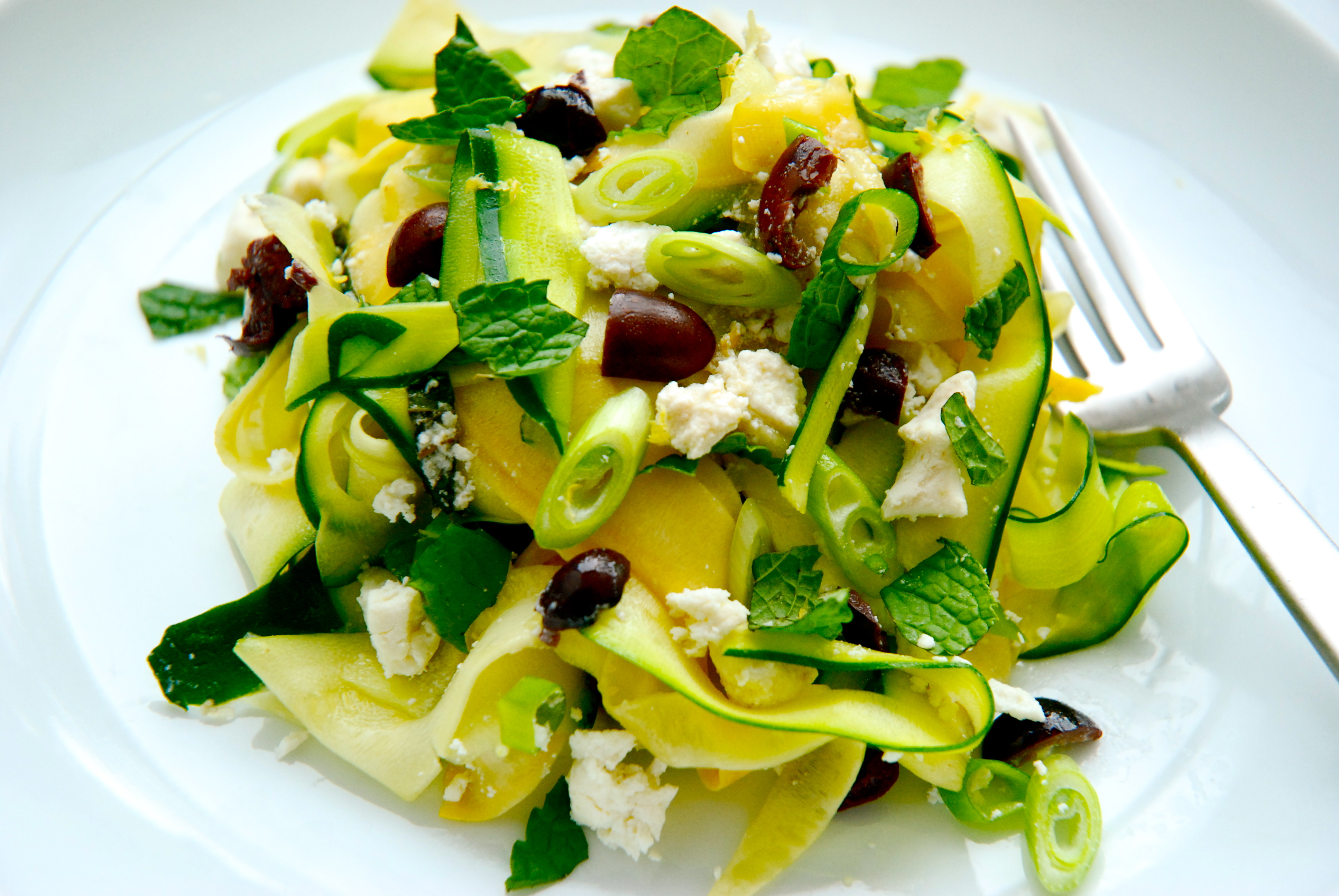 Zucchini Ribbons with Olives, Mint and Ricotta Salata