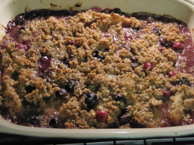 Spiced Pear and Berry Crisp with Whipped Crème Fraiche