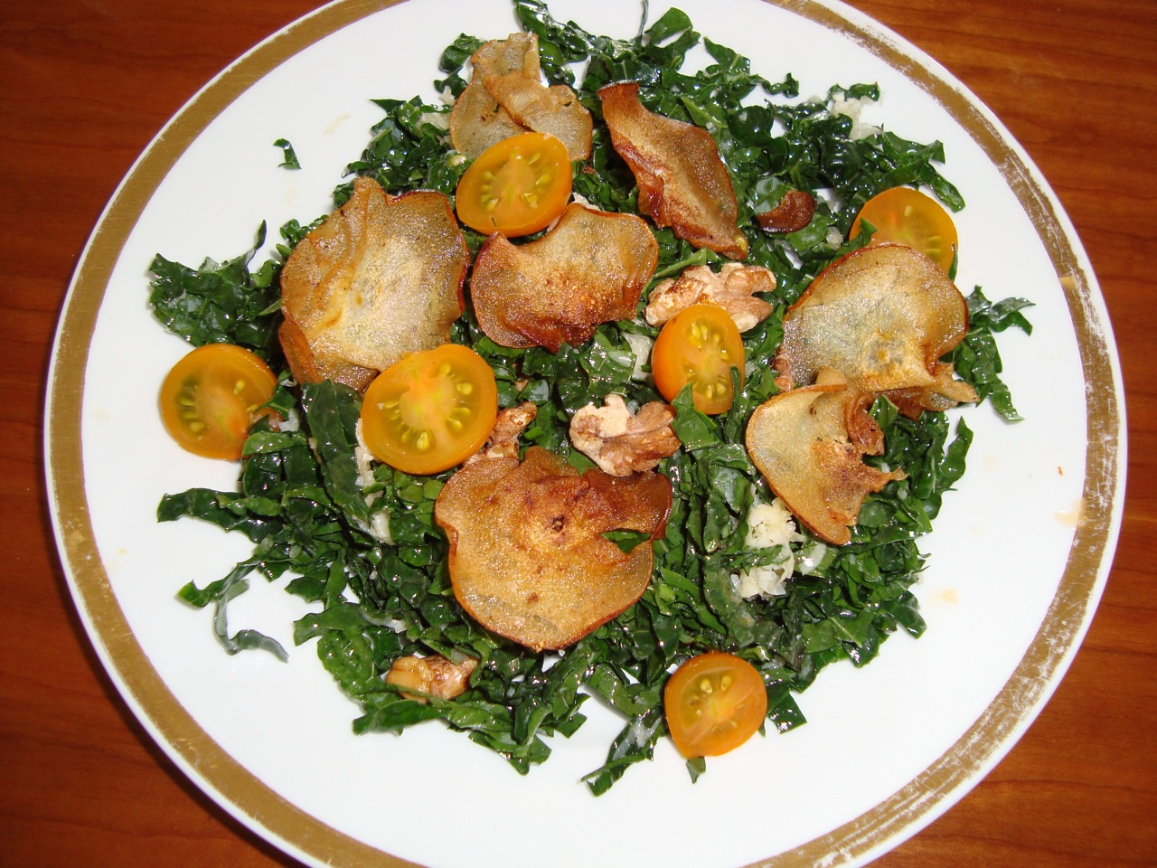 Kale Salad with Fried Pear Chips and Toasted Walnuts