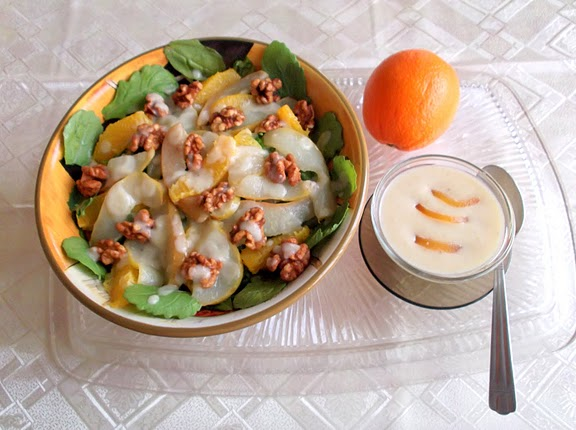 Arugula and Pear Salad with Creamy Pear and Gorgonzola Dressing