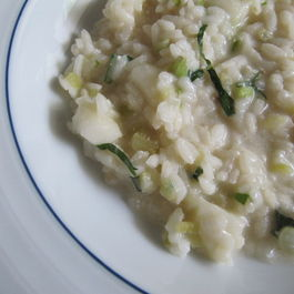 Celery Risotto with Asian Pear and Shiso