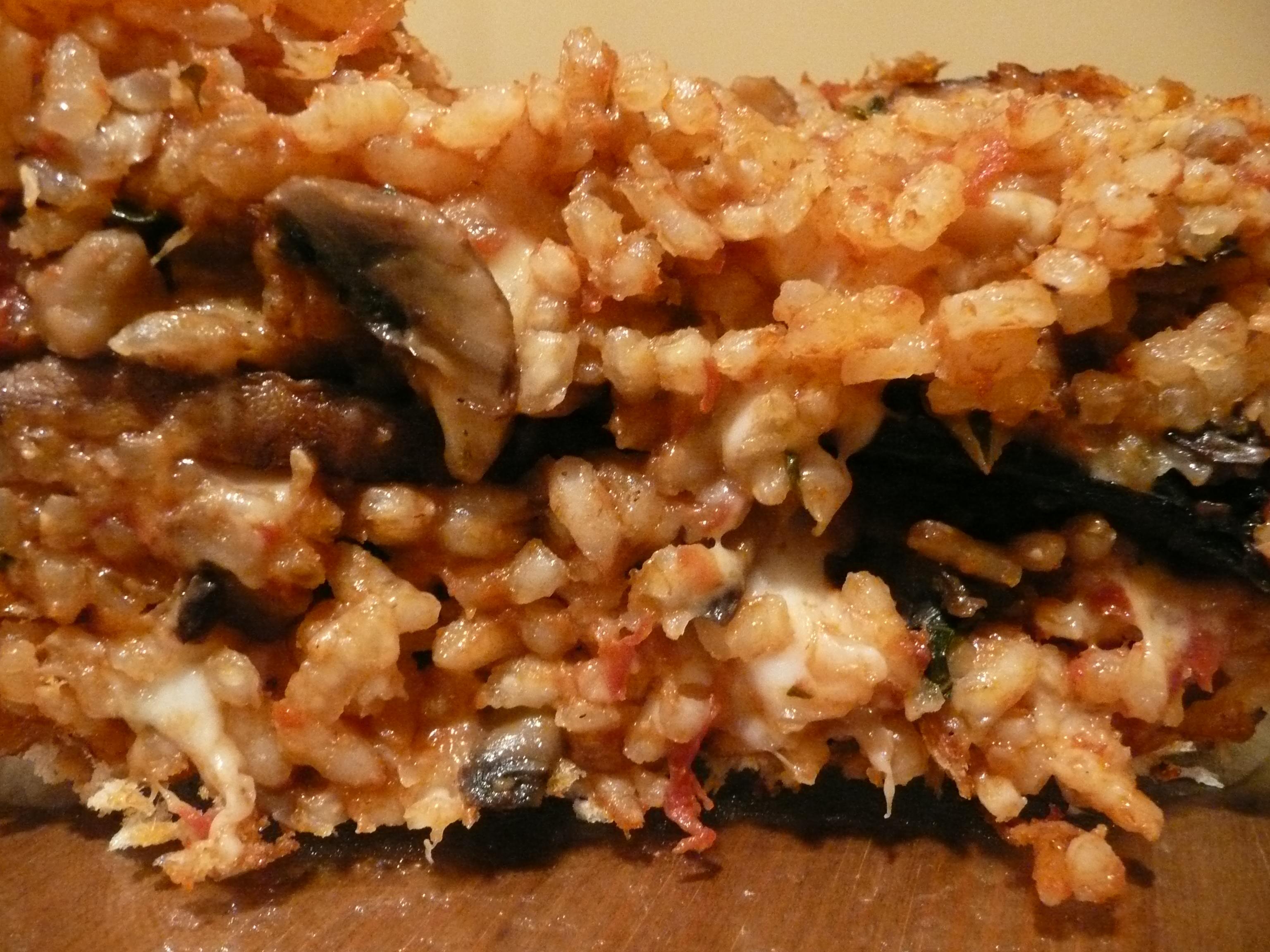 Torta di risotto with char-grilled Portobello mushrooms and three cheeses