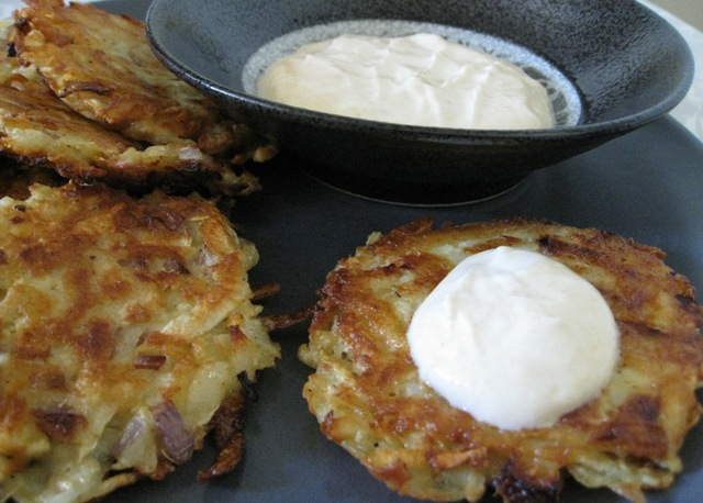 Celeriac and Potato Latkes with Apricot-Ginger Yogurt Sauce