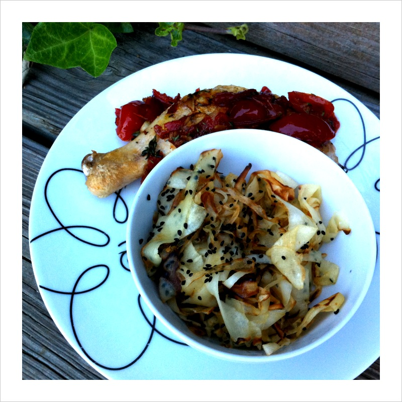 Sauteed Parsnip Ribbons with Nigella Seed