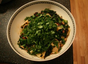 Swiss Chard and White Bean Salad with Torn Lasagna
