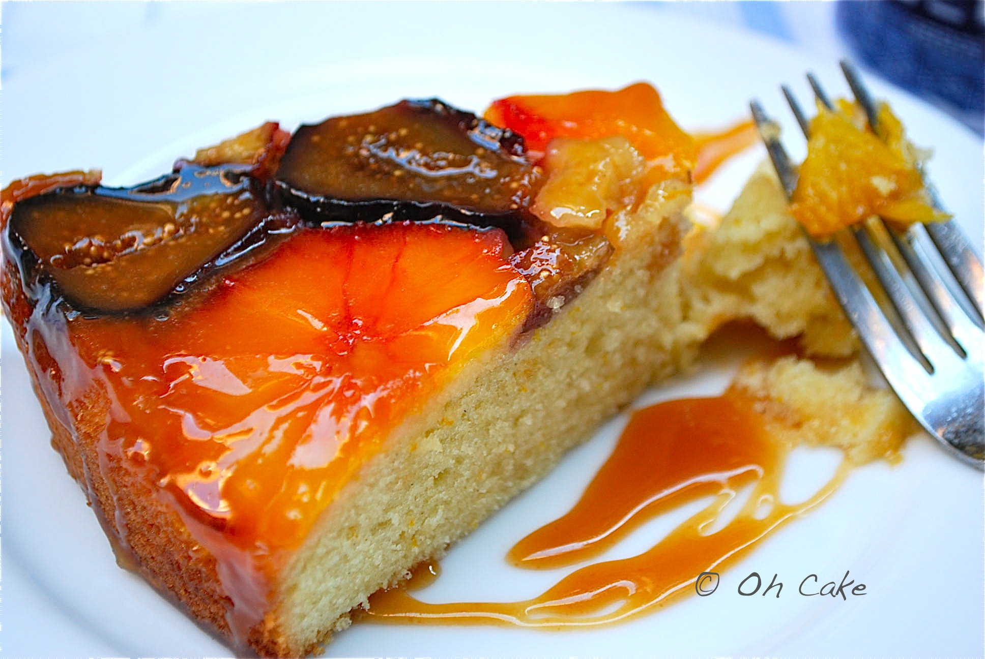 Orange-Fig Teacake with Caramel Glaze