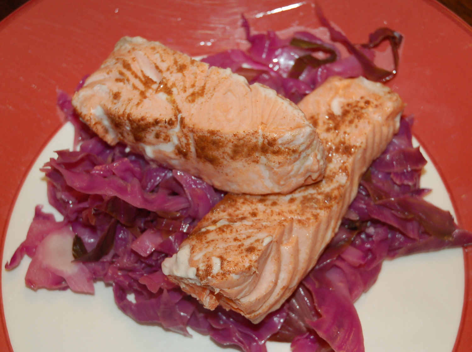 Braised Spiced Cabbage with Pan Roasted Salmon (if you want)